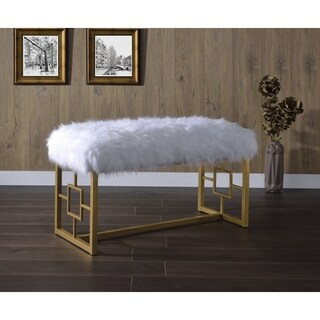 ACME Bagley II Bench, White Faux Fur and Gold