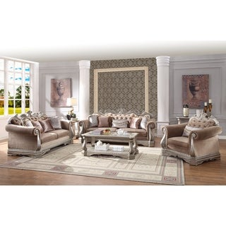 ACME Northville Loveseat with 4 Pillows, Velvet and Antique Champagne