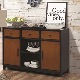 Contemporary Style Wooden Two  Tone Storage Dining Server, Brown