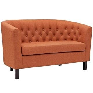 Bristol Classic Orange Fabric Button Tufted Loveseat