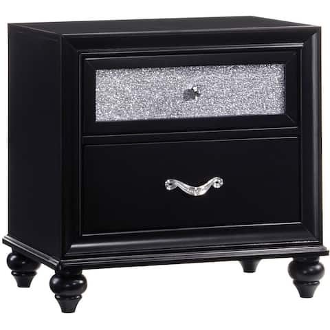 Two Drawers Wooden Night Stand with Acrylic Drawer Front, Black