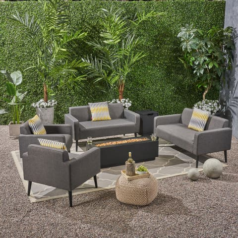 Alvin Outdoor Upholstered 6 Piece Chat Set with Fire Table by Christopher Knight Home