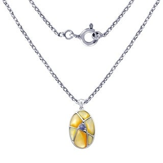 1.90 Cts Yellow Mop & Iolite Sterling Silver Oval Shape Pendant