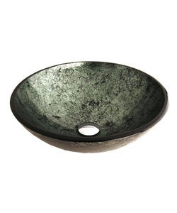 Fontaine Green Foil Glass Vessel Bathroom Sink - Thumbnail 2
