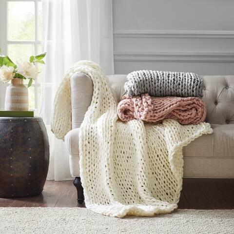 Madison Park Chunky Double Knit Handmade Throw