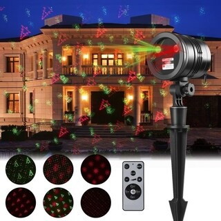Waterproof Christmas Projection Lights with Red & Green with Remote Control