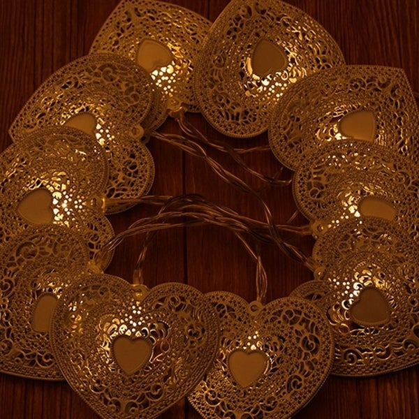 1 2m 10leds Hollow Heart Shape Fairy String Decorative Lights Battery Operated