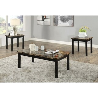 Coffee End Table Set with Faux Marble Top, Dark Brown and Black, Pack of 3