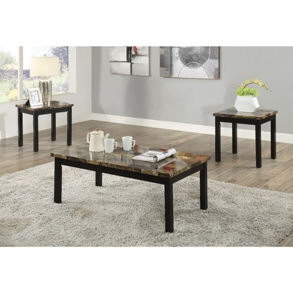 Shop Coffee End Table Set With Faux Marble Top Dark Brown And Black