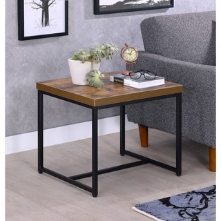 Contemporary Style Rectangular Wood and Metal End Table, Brown and Black