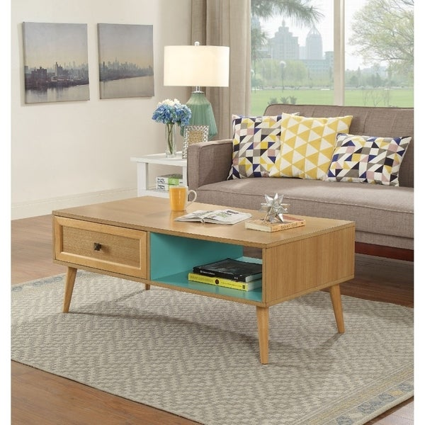 Transitional Rectangular Wooden Coffee Table with 2 Storage Compartments, Brown