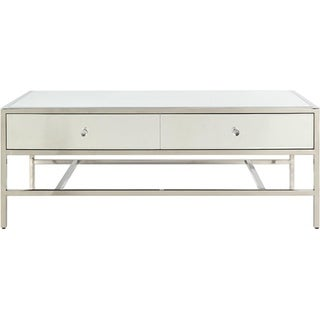Modern Style Rectangular Metal and Mirror Coffee Table with 2 Drawers, Silver
