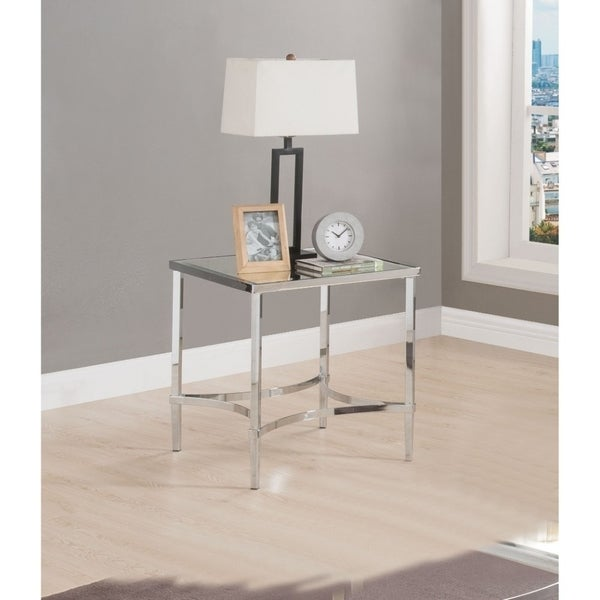 Modern Style Square Metal Frame End Table with Mirrored Top, Silver