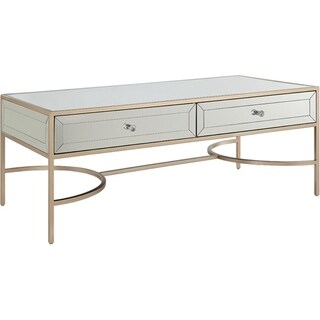 Modern Rectangular Metal and Mirror Coffee Table With 2 Drawers, Silver and Gold