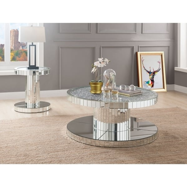 Modern Style Round Mirror Coffee Table With Glass And Faux Stones Top Silver