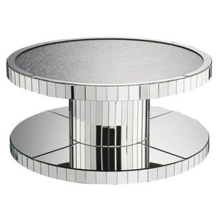 Modern Style Round Mirror Coffee Table with Glass and Faux Stones Top, Silver
