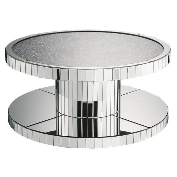 Shop Modern Style Round Mirror Coffee Table With Glass And Faux