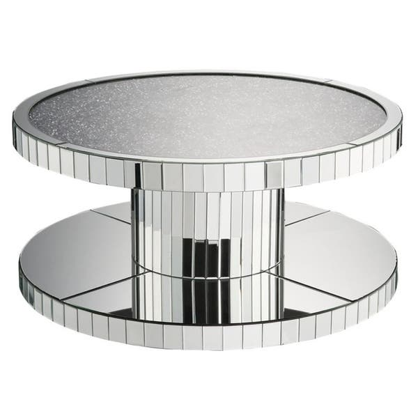 Modern Style Round Mirror Coffee Table With Gl And Faux Stones Top Silver