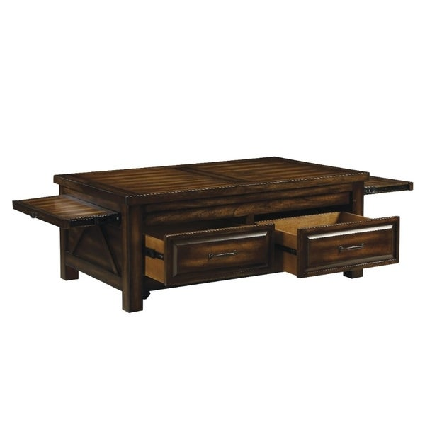 Transitional Style Rectangular Wooden Coffee Table with 2 Drawers, Walnut Brown