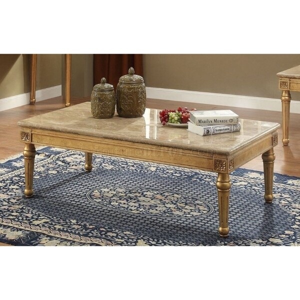 Shop Rectangular Wood And Marble Coffee Table, Gold