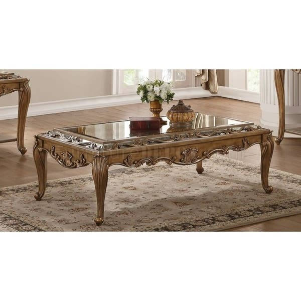 Cool Rectangular Wooden Coffee Table With Mirrored Top Gold Pdpeps Interior Chair Design Pdpepsorg