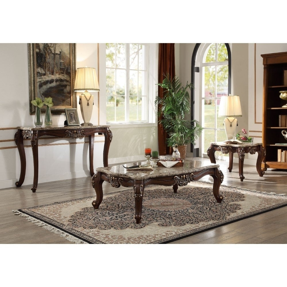 Shop Traditional Style Rectangular Wood And Marble Coffee Table