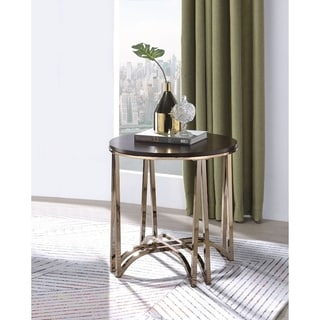 Contemporary Style Round Wood and Metal End Table, Brown and Gold