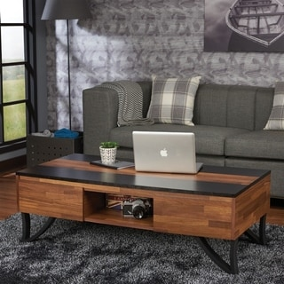 Rectangular Wood and Metal Coffee Table with Two Drawers and Open Shelf, Brown and Black