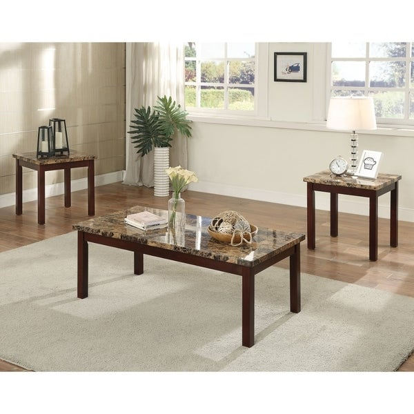 Transitional Style Wood And Faux Marble Coffee End Table Set Brown Pack Of 3 Free Shipping Today 25768720