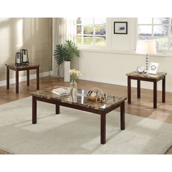 Admirable Transitional Style Wood And Faux Marble Coffee End Table Set Brown Pack Of 3 Caraccident5 Cool Chair Designs And Ideas Caraccident5Info