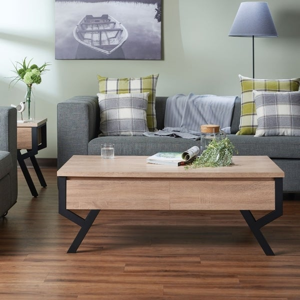 Transitional Rectangular Wooden Coffee Table With 2 Drawers, Brown and Black