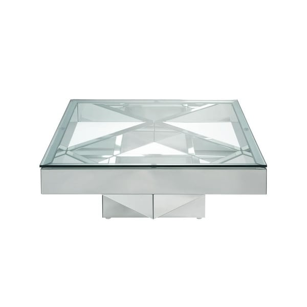 Glass And Silver Square Coffee Table: Shop Modern Style Square Glass And Mirror Coffee Table