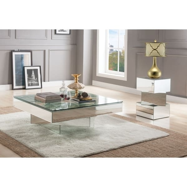 Modern Style Square Gl And Mirror Coffee Table With Pedestal Base Silver