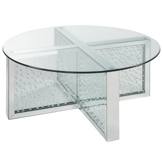 Modern Style Round Glass and Faux Crystal Coffee Table, Silver