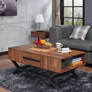 Contemporary Rectangular Wooden Coffee Table with Storage Drawers, Brown