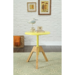 Transitional Style Round Wooden End Table with Tripod Legs, Brown and Yellow