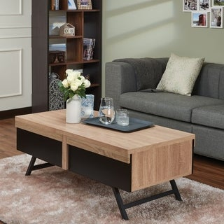 Rectangular Wood and Metal Coffee Table with 2 Drawers, Brown and Black