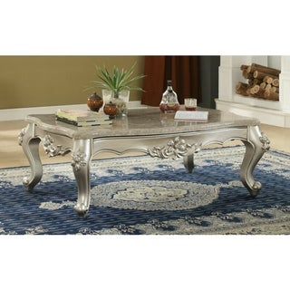 Traditional Style Rectangular Wood and Marble Coffee Table, Silver