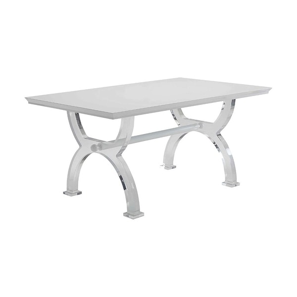 Modern Style Rectangular Wooden and Acrylic Dining Table, White