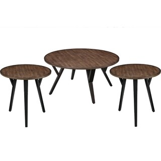 Round Wood and Metal Coffee End Table Set, Brown and Black, Pack of 3