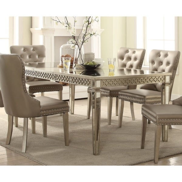 Contemporary Style Wood And Mirror Dining Table Silver And Beige On Sale Overstock 25768762