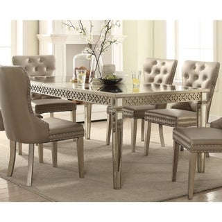 Contemporary Style Wood and Mirror Dining Table, Silver and Beige