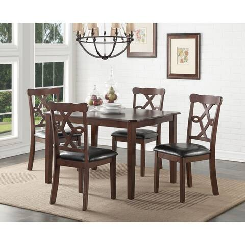Transitional Style Leatherette and Wood Dining Set, Brown and Black, Pack of 5
