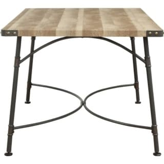 Industrial Style Rectangular Wood and Metal Dining Table, Brown and Gray