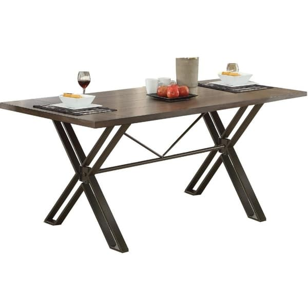 Modern Style Wooden Dining Table With Cross Legs Metal Base Gray And Brown
