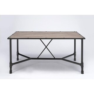 Rectangular Wood and Metal Dining Table in Industrial Style, Black and Brown