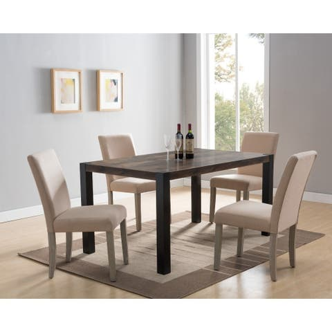 Contemporary Wooden Rectangular Dining Table with Block Legs, Black and Brown