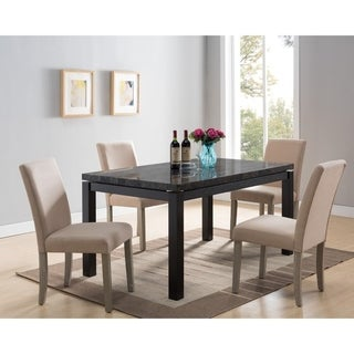 Wooden Rectangular Dining Table Base with Faux Marble Top, Black and Brown