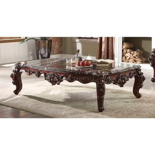 Rectangular Wood and Marble Coffee Table, Walnut Brown