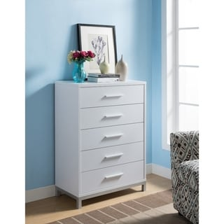Five Drawers Wooden Chest with Metal Bar Handles, White and Silver